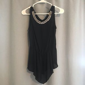HOLIDAY PARTY?! Embellished Collar Tank